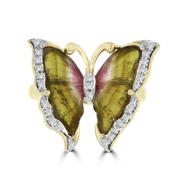 14k Yellow Gold Natural Tourmaline 2.06cts and Diamond 0.14ct TDW Butterfly Ring by La Vita Vital