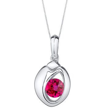 Oravo Created Ruby Sterling Silver Sphere Pendant Necklace - Red