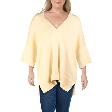 Lafayette 148 New York Womens Tunic Sweater Silk Blend V-Neck