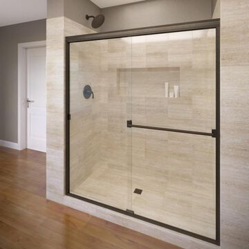 Basco Classic 43-in to 47-in W Semi-frameless Oil Rubbed Bronze Bypass/Sliding Shower Door