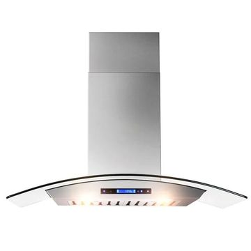 AKDY RH0035 36-inch Curved Glass Digital Touch Display Stainless Steel Wall Mount Range Hood