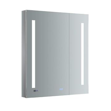 Fresca Luminosa 30-in x 30-in Lighted LED Fog Free Surface/Recessed Gray Mirrored Square Medicine Cabinet with Outlet
