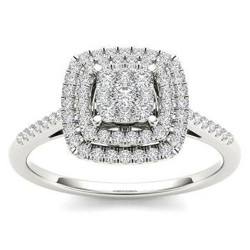 De Couer IGI Certified 1/4ct TDW Diamond Cluster Ring - White (White - 8.5 - White)