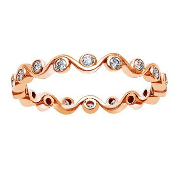 10k Rose Gold 1/3ct TDW Diamond Eternity Band Ring by Beverly Hills Charm