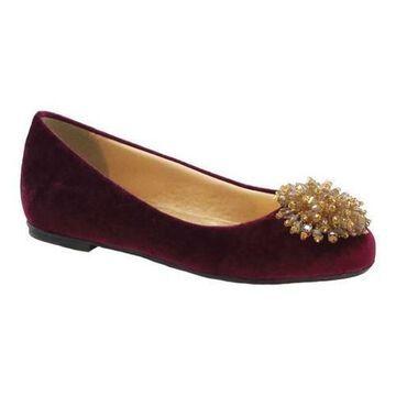 Women's Beacon Shoes Cindy Flat Burgundy Velvet