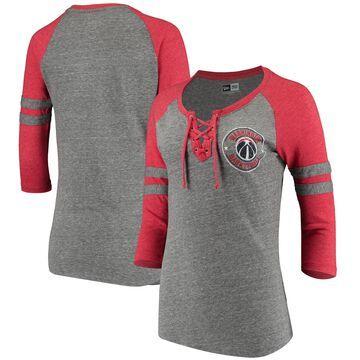 5th & Ocean by New Era Washington Wizards Women's Heathered Gray Tri-Blend Lace-Up Raglan 3/4-Sleeve T-Shirt