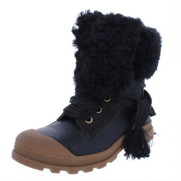 Chloe Womens Leather Shearling Booties