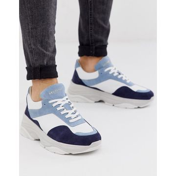 Selected Homme premium leather chunky sneaker in blue