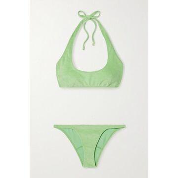 Lisa Marie Fernandez - Amber Stretch-cotton Terry Halterneck Bikini - Green