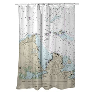 SH14774CL 70 x 72 in. Clayton, NY Nautical Map Shower Curtain