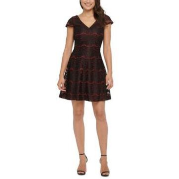 kensie Metallic Lace Fit & Flare Dress