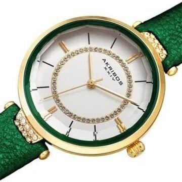 Akribos XXIV Women's Swarovski Crystal Faceted Genuine Leather Strap Watch (Green)