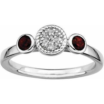 Sterling Silver Dbl Round Garnet & Dia. Ring
