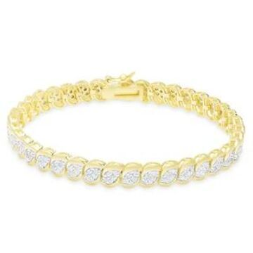 Finesque Gold Over Silver or Sterling Silver 2 ct TDW Diamond Bracelet (Yellow - Gold Plate)
