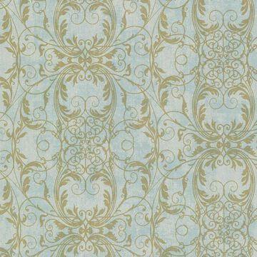 Kenneth James Sparkle 56-sq ft Turquoise Non-Woven Damask Unpasted Wallpaper in Blue   2542-20728