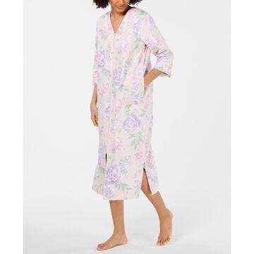 Printed Cotton Sateen Long Zip Robe