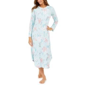 Miss Elaine Brushed Waffle Knit Printed Long Nightgown