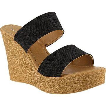 Azura Women's Fiora Wedge Sandal Black Synthetic