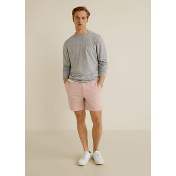 MANGO MAN - Elastic waist cotton bermuda shorts pink - 36 - Men