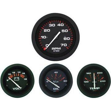Sierra 69722P Amega Series Black Inboard 4 Set with Tachometer, Voltmeter, Oil Pressure and Water Temperature Gauges