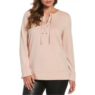 Rafaella Women's Tunic Lace-Up French Terry Sweatshirt - -