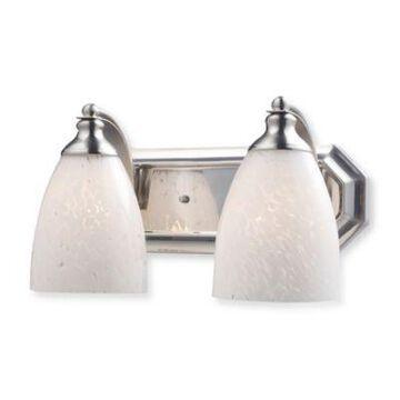 Elk Lighting 2-Light Vanity In Satin Nickel And Snow White Glass