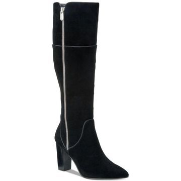 Adrienne Vittadini Womens Neeva Leather Pointed Toe Knee High Fashion Boots