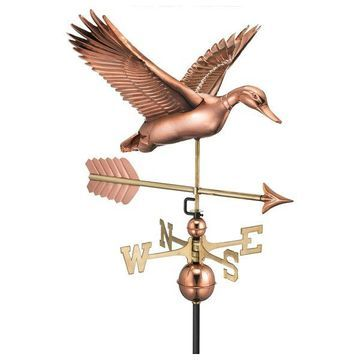 Flying Duck With Arrow Weathervane, Pure Copper