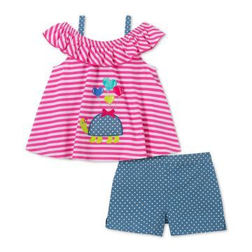Little Girls 2-Pc. Striped Turtle Top & Dot-Print Shorts Set