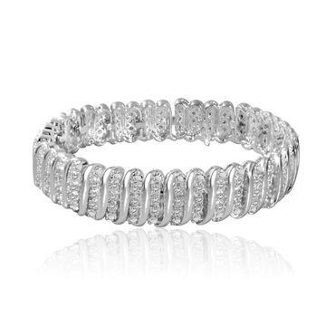 Divina Silvertone 1ct TDW Diamond Tennis Bracelet