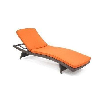 Jeco WL-1-CL1-FS016 Wicker Adjustable Chaise Lounger w/ Orange Cushion