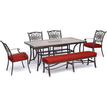 Hanover Monaco 6 pc. Patio Dining Set with Four Dining Chairs 1 Bench and a Tile-Top Table, MONDN6PCBN-RED