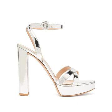 Gianvito Rossi - Poppy 100 Metallic-leather Platform Sandals - Womens - Silver