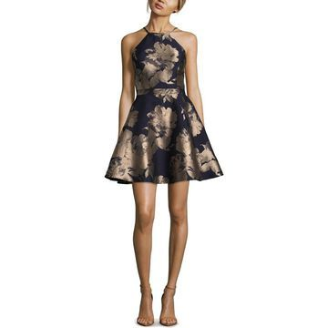 Xscape Womens Brooke Party Dress Brocade Floral Print