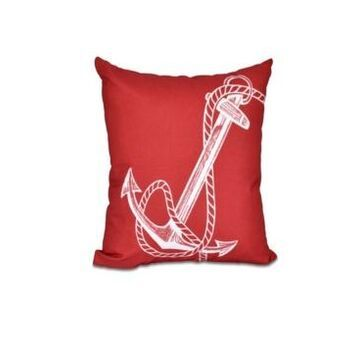 Anchored 16 Inch Red Decorative Nautical Throw Pillow