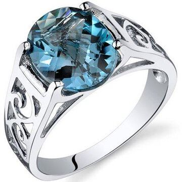 Oravo 2.75 Carat T.G.W. London Blue Topaz Rhodium-Plated Sterling Silver Engagement Ring
