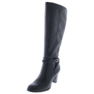 Giani Bernini Womens Beckyy Wide Calf Faux Leather Dress Boots