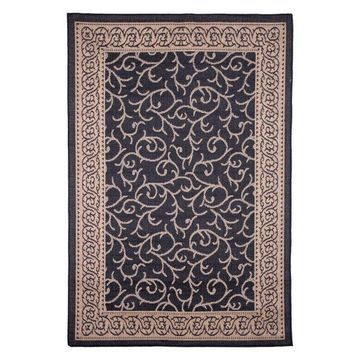 8x10 Area Rug, Indoor and Oudoor Vine Ornate, Black and Tan