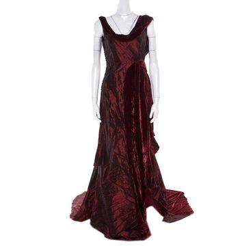 John Galliano Burgundy Velvet Trim Sleeveless Evening Gown M