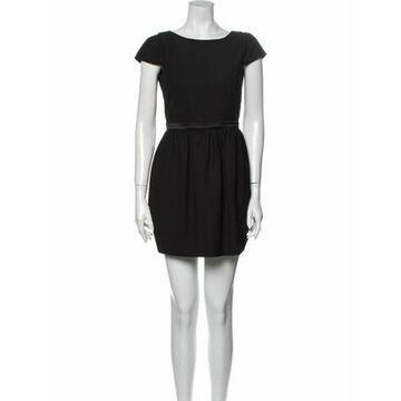 Bateau Neckline Mini Dress Black