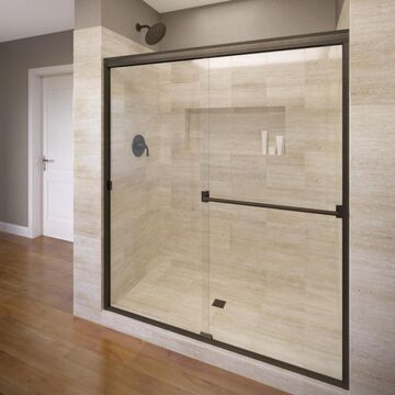 Basco Classic 70-in H x 56-in to 60-in W Semi-Frameless Bypass/Sliding Oil Rubbed Bronze Shower Door (Clear Glass)