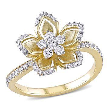 Miadora 10k Yellow Gold 1/2ct TDW Diamond Flower Ring