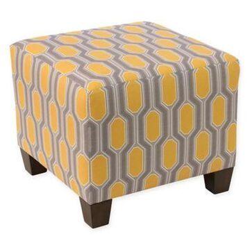 Skyline Furniture Ottoman in Hexagon Yellow