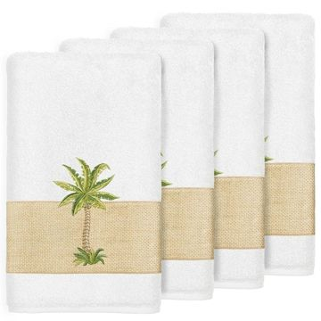 Authentic Hotel and Spa Turkish Cotton Palm Tree Embroidered White Bath Towels (Set of 4)