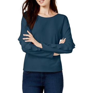 Bar III Womens Ruffled Casual Pullover Top