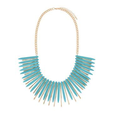 Spiky Bib Necklace, Turquoise/Gold