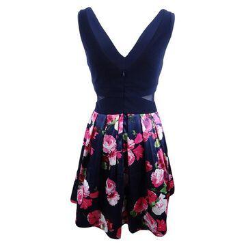 Xscape Women's Solid & Floral-Print Fit & Flare Dress