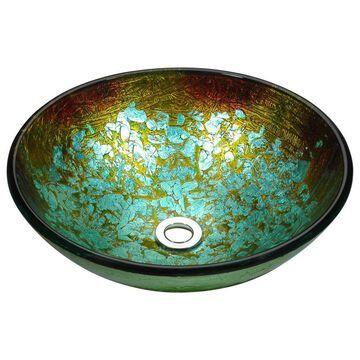 ANZZI Tara Glacial Blaze Tempered Glass Vessel Round Bathroom Sink (Drain Included) (16.5-in x 16.5-in) | LS-AZ8180