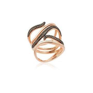 Chocolatier Chocolate Diamonds & 14K Strawberry Gold Ring