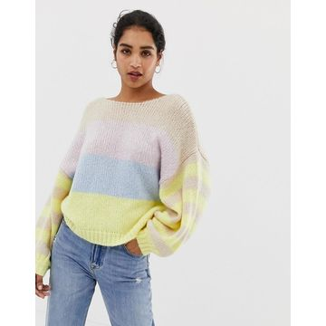 Vila color block stripe balloon sleeve sweater-Multi